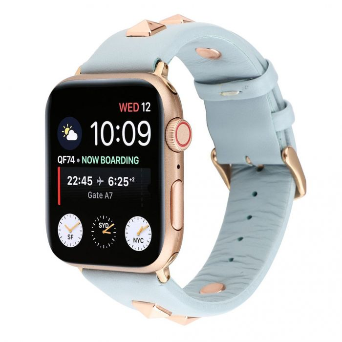 Apple Watch Series 4 40mm Genuine Leather Rose Gold Fastener Watch Band Baby Blue